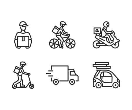 Food delivery service flat line icon set. Vector illustration couriers on different transport, motorbike, car, bicycle and kick scooter. Pizza delivery. Editable strokes.