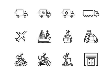 Transport company flat line icon set. Vector illustration food and delivery service. Transportation of cargo. Worldwide delivery. Editable strokes