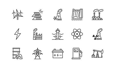 Power plant flat line icons set.