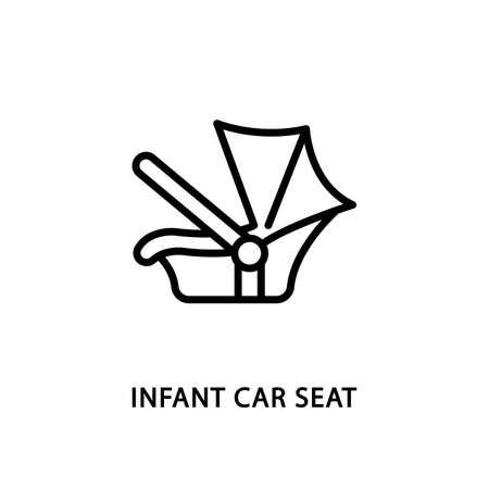 Infant car seat line flat icon. Vector illustration car safety seat.