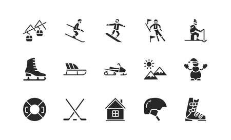 Winter sport flat glyph icons set. Vector illustration ski resort symbols, included skier, slalom, snowboarder, cableway, equipment.