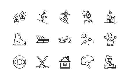 Winter sport flat line icons set. Vector illustration ski resort symbols, included skier, slalom, snowboarder, cableway, equipment. Editable strokes