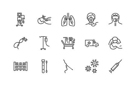 Artificial lung ventilation flat line icons set. Vector illustration coronovirus test and medical equipment for covid-19. oxygen mask, mouth-to-mouth resuscitation, doctor in protective clothing. Editable strokes.
