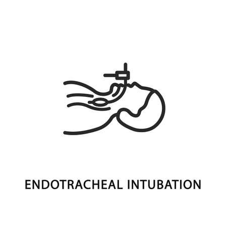 Endotracheal intubation flat line icon. Artificial lung ventilation