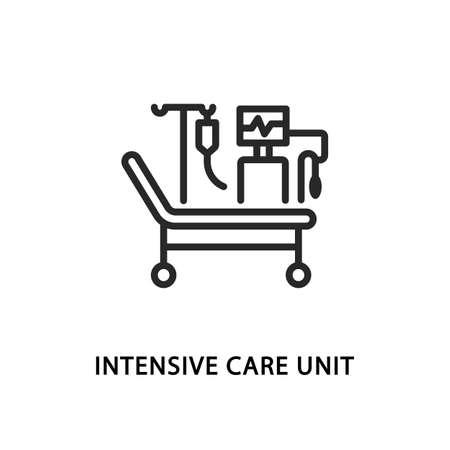 Intensive care unit flat line icon. Vector illustration emergency department. icu symbol Vektorgrafik