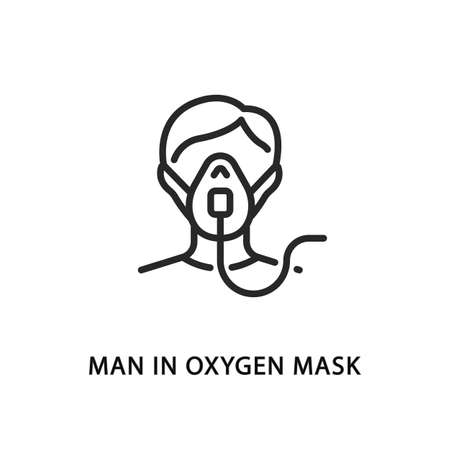 Man in oxygen mask flat line icon