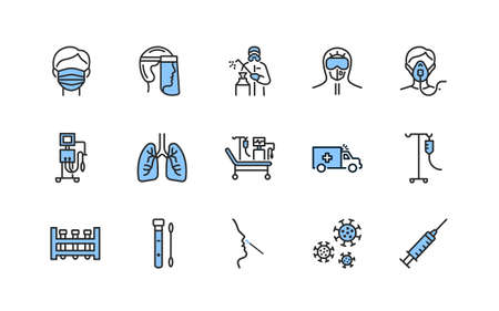 Covid-19 protection and medical test to detect it flat line icons set blue color. Vector illustration included artificial lung ventilation, on faces in ppe. Editable strokes