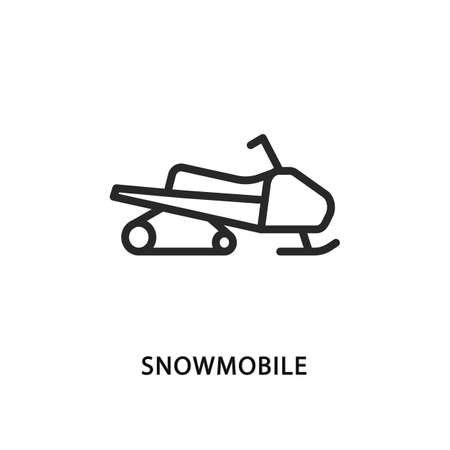 Snowmobile flat line icon. Vector illustration motor sled symbol