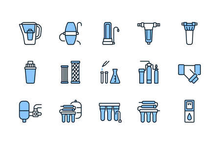 Water filter flat line icon blue color. Vector illustration of different types of water filtration equipment included undersink, pitcher container, reverse osmosis, fine filter. Editable strokes