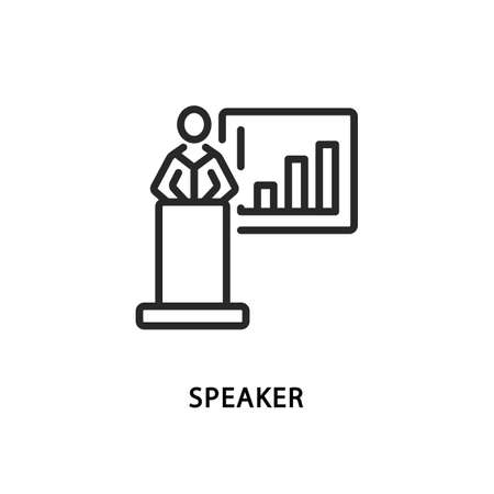 Speaker flat line icon. Vector illustration business coach behind the podium in front of the board with graphs