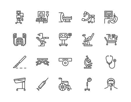 Medical examination equipment flat line icon set. Vector illustration diagnostic tools. Symbols for a complete survey of patients. Editable strokes