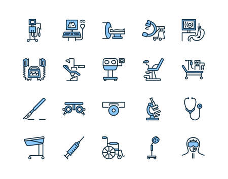 Medical examination equipment flat line icon set blue color. Vector illustration diagnostic tools. Symbols for a complete survey of patients. Editable strokes
