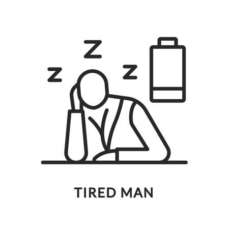 Tired flat line icon. Vector illustration of a tired man. The energy has run out. He wants to sleep. Diabetes symptom Vetores