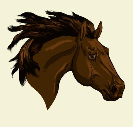 Gemaltes Porträt eines friesischen Pferdes mit einer langen Mähne. Kopf des dunklen Pferdes. Vektor lokalisiert auf einem beigen Hintergrund. Vektorgrafik