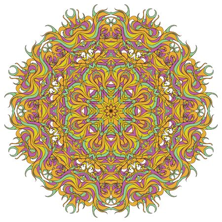 Abstract radial decoration tracery. Vintage circular pattern, ornamental floral mandala in yellow, lilac and orange colors. Adornment for meditation classes. Illusztráció