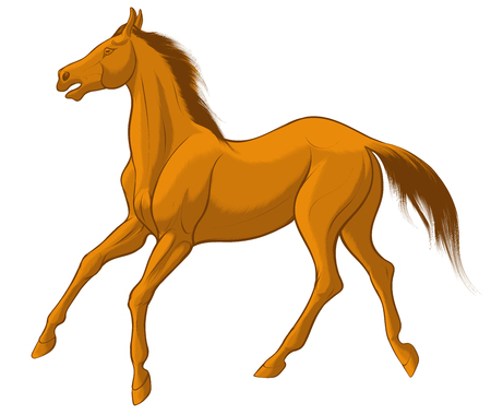 Quick sketch of red horse with brown mane, galloping free. Vector clip art and design element for equestrian farms. Emblem of an agricultural animal.