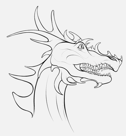 Linear head of a dragon with grinning mouth. Portrait of winged snake, mythological character of fairy tales. Fantastic creature growls. Illusztráció