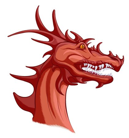 Head of a red dragon with grinning mouth. Portrait of winged snake, mythological character of fairy tales. Fantastic creature growls.