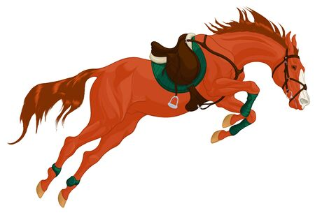 Red stallion overcomes an obstacle in a powerful jump. Illustration of a steed equipped for show jumping competition with green shabrack and bandages. Vector clip art for cross-country equestrianism.