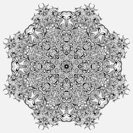 Circle ornament, abstract floral mandala. Design for coloring books. Vetores