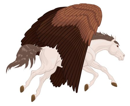 White Pegasus flies with brown wings lowered down. Mythological horse runs through the sky. Colored vector clip art and design element for magical themes.