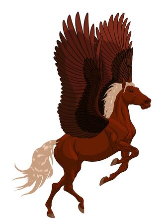 Chestnut Pegasus reared and flaps its wings, preraring for flight. Prancing stallion pricked up its ears and stared ahead with dilated nostrils. Symbol of inspiration.