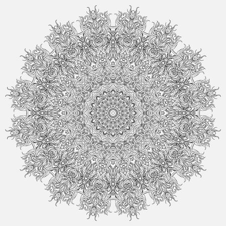 Abstract monochrome circular tracery and patterned snowflake. Linear ornamental mandala. Lace designed for decorating dishes, fabrics.