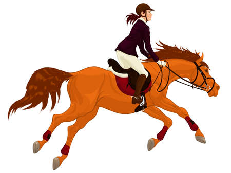 Emblem for equestrianism. Performance at show jumping competitions. Woman dressed in jacket and breeches rides a horse. Stallion gallops with legs stretched out. Vector clip art for equestrian clubs.