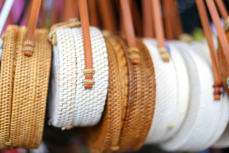 BAMBOO Bags in the row in local market. Trendy fashion on handmade goods.