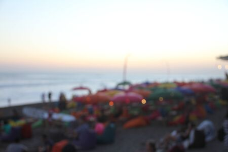 Blurred background of many people had fun at a beach party.