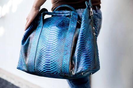 Trendy python classic blue leather big handbag in woman hands. Fashion accessories Reklamní fotografie