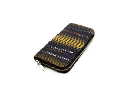 Black golden snakeskin wallet purse isolated on a white background. Fashion concept
