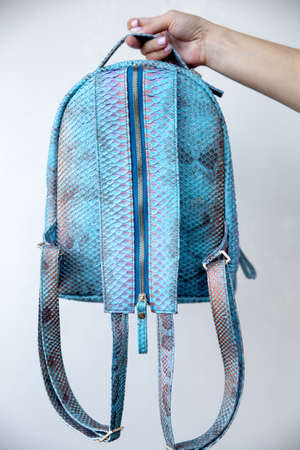 Blue python leather backpack closed up of zipper part. Fashion concept