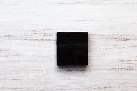 Bar of organic natural charcoal soap. Ecological concept. 스톡 콘텐츠