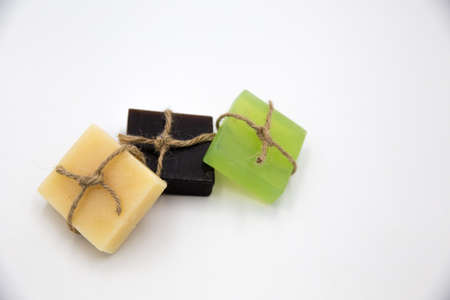 Bars of organic natural soap in a row. Ecological concept. 스톡 콘텐츠