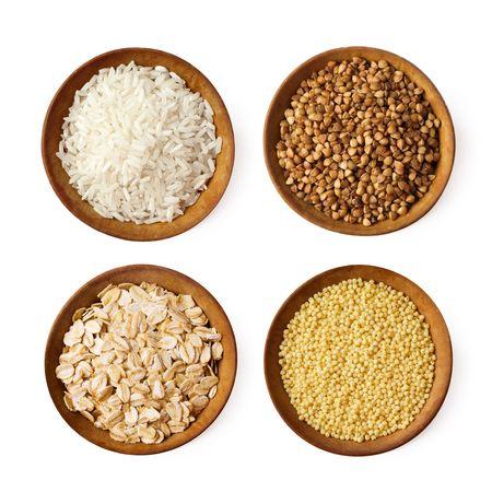 assorted grains (rice, buckwheat, millet, oat)