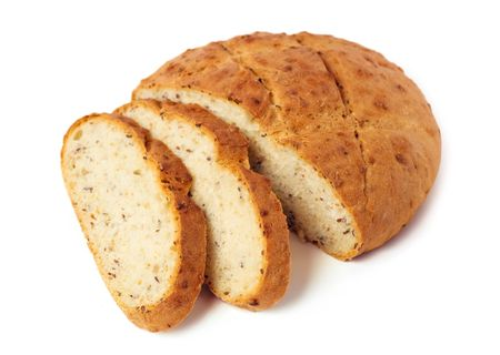 Fresh cut bread isolated on white background