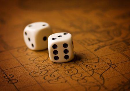 Pair of dice on brown