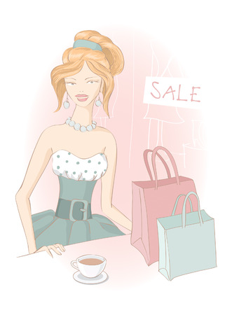 adolescent: Retro shopping girls with shopping bags and cup of tea on sale. fashion illustration.