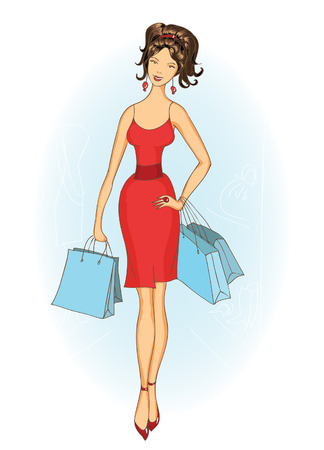 Modern shopping girls with shopping bags in red dress. fashion illustration.