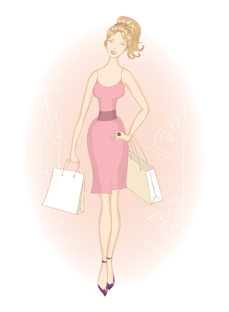 Shopping girls with shopping bags in rose dress. fashion illustration.