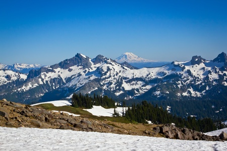 cascade range: Snow Covered Mountains in the Pacific Northwest part of the United States.