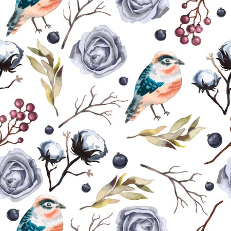floral objects: Seamless  vector pattern with flowers , branches, cotton,  bird, wild  Berry and leaves in vintage watercolor style. Hand drawn  vector illustration.