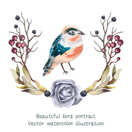 wild berry: Vector beautifyl bird portrait with branches, , wild  Berry and leaves in vintage watercolor style. Hand drawn watercolor vector illustration. Floral wreath.