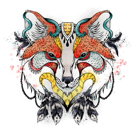 spatters: Abstract fox . Ornate isolated vector illustration. Hand drawn animal drawing. Watercolor background with spatters and blobs. Animal in boho style with feathers and other beautiful elements.