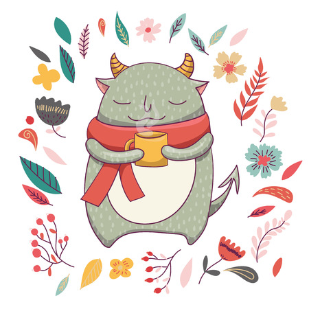 ugly gesture ugly gesture: Cute fluffy monster with horns and cup of coffee or tea. Romantic autumn card template. Funny vector kids illustration. Cute monster in scarf. Floral background. Illustration