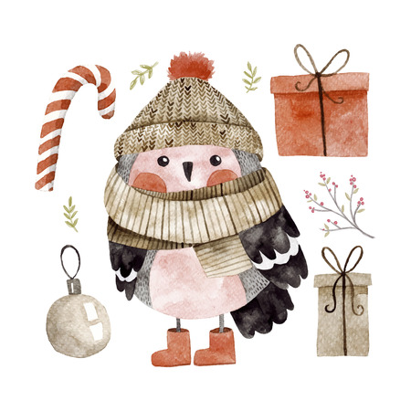 comfortable: Little cute bullfinch with winter hat and scarf.Watercolor hand drawn kids illustration. Christmas winter theme. Set of christmas elements with gifts and candies, nature elements.Holiday greeting card Stock Photo