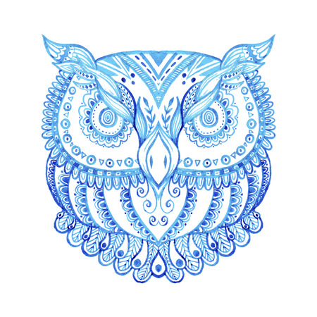 tshirt designs: Zentangle ispired watercolor illustration. Hand drawn ornate owl. Abstract animal drawing. Perfect for cards, invitations, t-shirt designs and other.