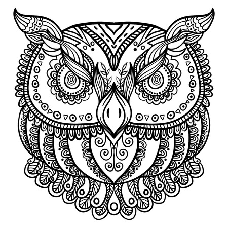 inspired: Zentangle inspired abstract owl . Vector hand drawn illustration. Tattoo or henna template, beautiful design for prints, cards or t-shirts Illustration