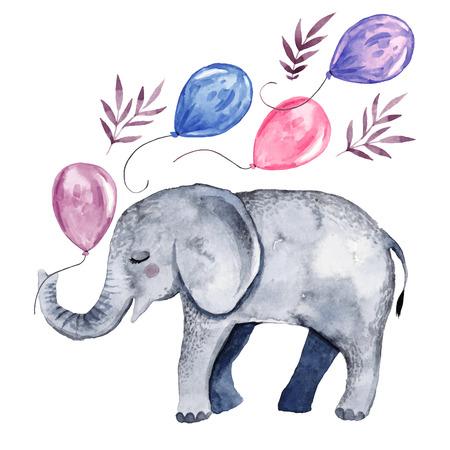 Cute ilustración con elefante bebé y globos